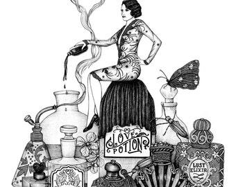 Apothecary Love Potion A5 Print
