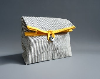 Striped cotton lunch bag