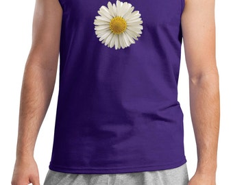 Men's Flower Tanktop White Daisy Tank Top DAISY-2200