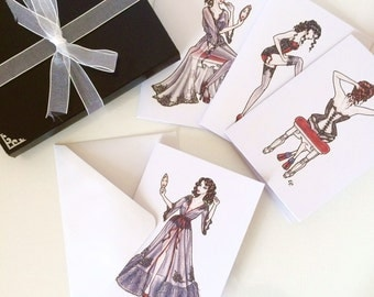 "Illustrated ""Boudoir"" Fashion Notecard Set - 8 or 12 Pack of Notecards"
