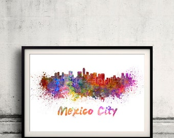 Mexico City skyline in watercolor over white background with name of city 8x10 in. to 12x16 in. Poster art Illustration Print  - SKU 0573