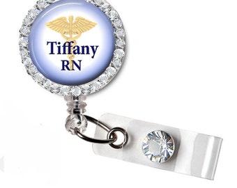 Personalized Caduceus, Registered Nurse,RN, Badge reel, ID Badge holder, retractable badge reel