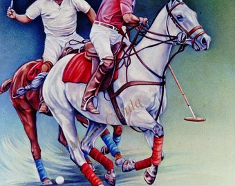 "An original equine art, polo art drawing, entitled ""Flying Colors"""