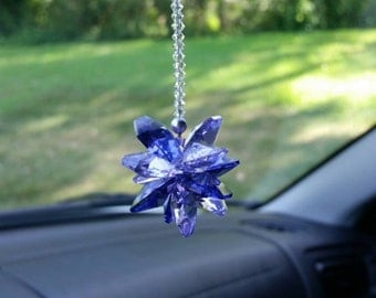 purple crystal car charm, viloet cluster mirror decoration, february amethyst gift, hanging swarovski crystal, rear view mirror decoration