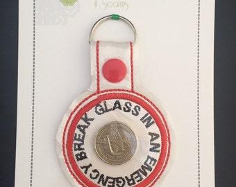 Break Glass in Emergency Novelty Keyring Zip Pull Key Fob