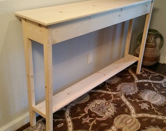"Unfinished Pine Console, Sofa, Wall Table With Shelf- 60"" long x 11.25"" deep x 30"" tall"