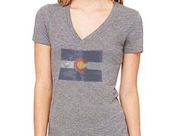 Women's Triblend Deep V-Neck Tee Featuring the Colorado Flag on a Highly Detailed Topographic Map of Colorado.  Printed on Bella+Canvas.