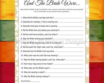 Bridal Shower Game, The Bride Wore, Memory Game, Wedding Shower, Party Game, Tan and White Floral, Printable, Instant Download - TFD381