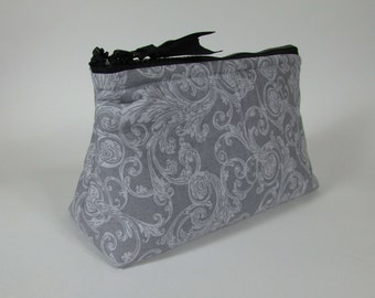Cosmetic Bag Set of Two Gray and White Pattern Handmade Makeup Bag Toiletry Bag Zipper Pouch Cosmetic Case