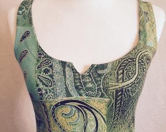Parisian green paisley maxi dress, size 6