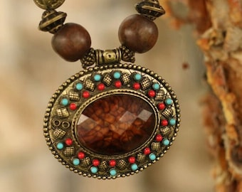 Ethnic Indian Brown Indian Necklace with Brown Cabochon Pendant