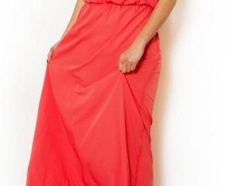 Coral Maxi Dress Long  Evening Summer Dress Prom Dress