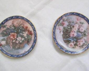 Vintage 1994 Bradex Lena Liu Mini Plates Basket Bouquets Series 1st Pair, Roses and Begonias, COA and original box