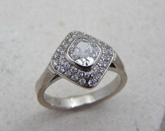 Cushion diamond ring, diamond engagement white diamond ring, diamond solitaire, lady diamond ring, pavé diamond ring, 18k gold diamond ring