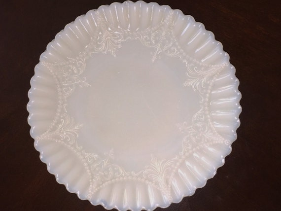Vintage White Milk Glass Plates Set of 2 ornate with a