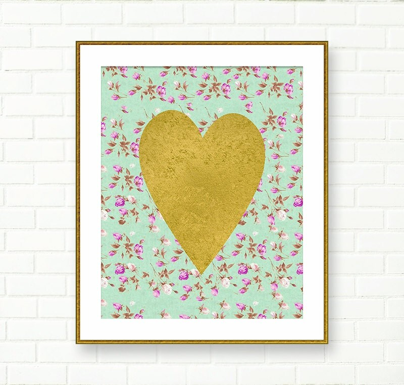 Etsy Gold Wall Decor : Heart print gold wall art printable nursery
