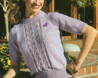 Ladies Knitting Pattern PDF Sweater with Lacy Panel