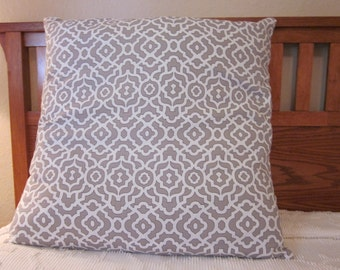 Extra Large Silver/Grey Trelllis Pillow Cover 26x26- Throw Pillow Cover - Silver Decor - Grey Decor - Geometric Pillow Sham - Trellis Sham