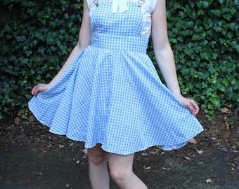 Vintage Checkered Handmade Jumper Dress Light Blue XS