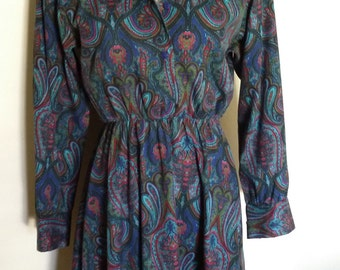 Paisley dress, cotton paisley dress, S, blue print dress, paisley print dress, 70's paisley, blue floral dress