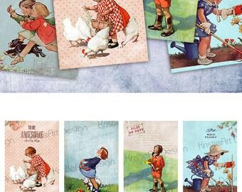 75% OFF SALE Kids Digital Cards - Digital Collage Sheet Greeting ATC Cards Printable download tags digital image kids collage scrapbook card