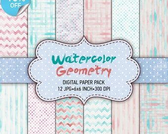 "75% OFF SALE Digital paper pack ""Watercolor Geometry"" - Printable paper pack sheets 6x6 inch Digital Background Paper 15x15 scrapbook"