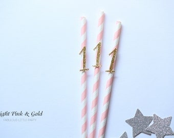 First Birthday Party Decorations, Champagne Number Party Straws SET of 20 First Birthday Party 1st Birthday/Party Decor Champagne/Blush Pink