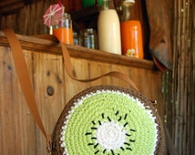 Bolso ganchillo Kiwi, Crochet kiwi's handbag,crochet bag, fresh style, handmade, handcraft,fashion,design,unique,
