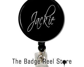 Retractable ID Badge Holder, Name Tag, Personalized, Name, Badge Reel, ID holder, Nurse, Black and White