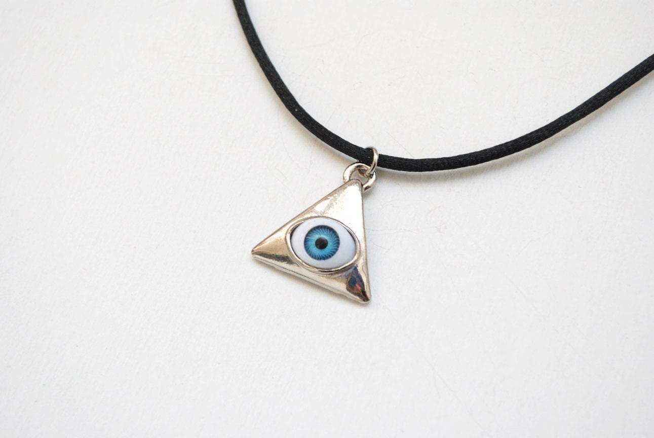 third eye necklace triangle pendant evil eye necklace