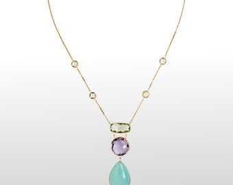 Gemstone Necklace - Green Amethyst, Pink Amethyst and Chalcedony Necklace 14k Yellow Gold - Christmas or Anniversary Gift For Women