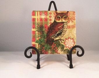 Christmas Owl Coaster Set (Set includes 4 Tiles )