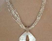 White and Cream Abalone Shell Pendant and Seed Bead Necklace