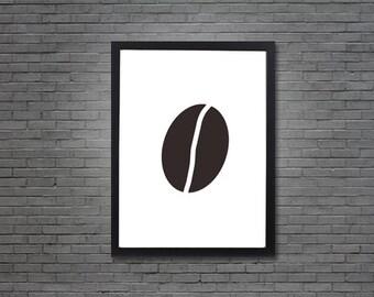 Minimalist Coffee Bean | Digital Art, Printable