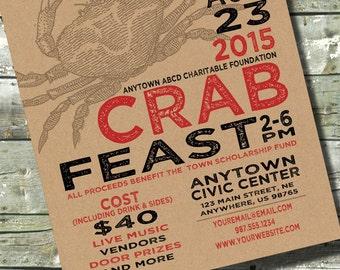 CRAB FEED Boil Fest Feast Party ~ Church or Community Event ~ 5x7 Invite ~ 8.5x11 Flyer ~ 11x14 Poster ~ 300 dpi Digital Invitation