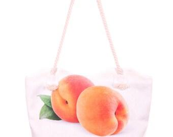 Apricot print handbag Apricot handbag White shoulder bag Fabric tote White tote bag Zip white bag White beach bag Christmas gift for her