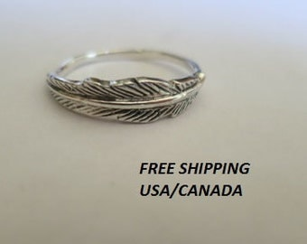 Silver feather ring; 92.5 sterling silver, boho, gypsie ring