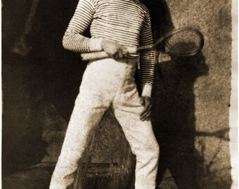 """Hill and Adamson Photo """"Tennis, Mr. Laing or Laine"""" 1843"""