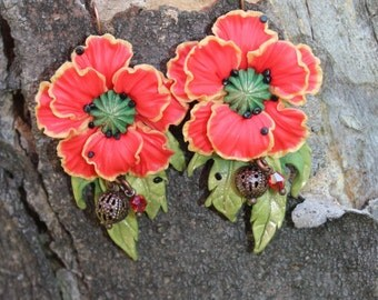 Poppy Earrings - Red Earrings - Polymer Clay Earrings - Handmade Earrings - Floral Earrings - Minimalist Earrings