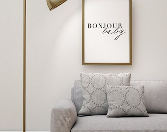 Scandinavian Print, French Poster, Bonjour, Typography Poster, Home Decor Print, Black and White Art, Wall Art