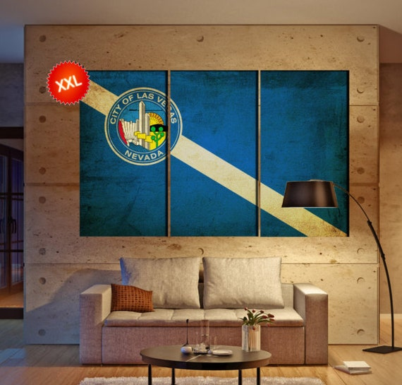 "LARGE 3 panels / boards wrapped stretched City Las Vegas, Nevada ""Sin City"" canvas wall art Giclee Art wall  art Repro"