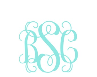 8 inch Interlocking Vine Monogrammed Car Decal ~ Three Initial Car Decal ~ Choose your color