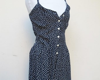 Black and white Polka Dot 1970 s Romper Playsuit