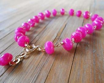 Fuchsia agate bracelet ,Hot pink silver 925 bracelet ,Beaded 18kt goldplated  bracelet