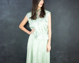 Vintage Green Satin Maxi Dress // 1970's