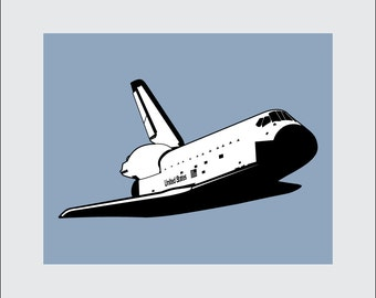 Space Shuttle Art Print, 8x10 PRINTABLE, NASA, Instant Download, Digital