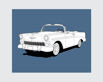 1956 Chevy Bel Air Art Print, 8x10 PRINTABLE, Classic Car, Instant Download, Digital