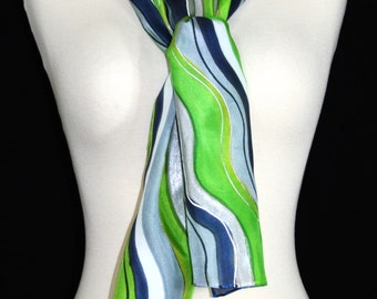 Lime Silk Scarf. Navy Blue, Silver Hand Painted Silk Shawl. Handmade Silk Scarf LIME MOJITO. Size 8x54. Birthday, Mother Gift. Gift-Wrapped.