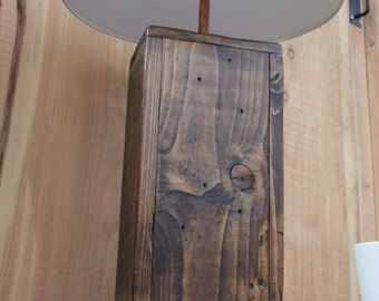 Tall Rustic Wood Lamp Base / Chunky Reclaimed Wood Lamp - Made From Reclaimed Pallet Wood