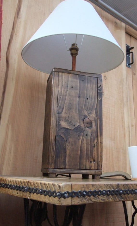 tall rustic wood lamp base chunky reclaimed wood lamp made. Black Bedroom Furniture Sets. Home Design Ideas